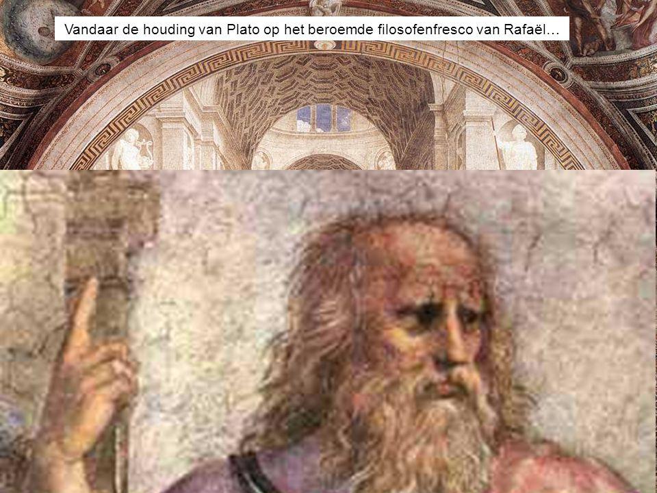 Vandaar de houding van Plato op het beroemde filosofenfresco van Rafaël…