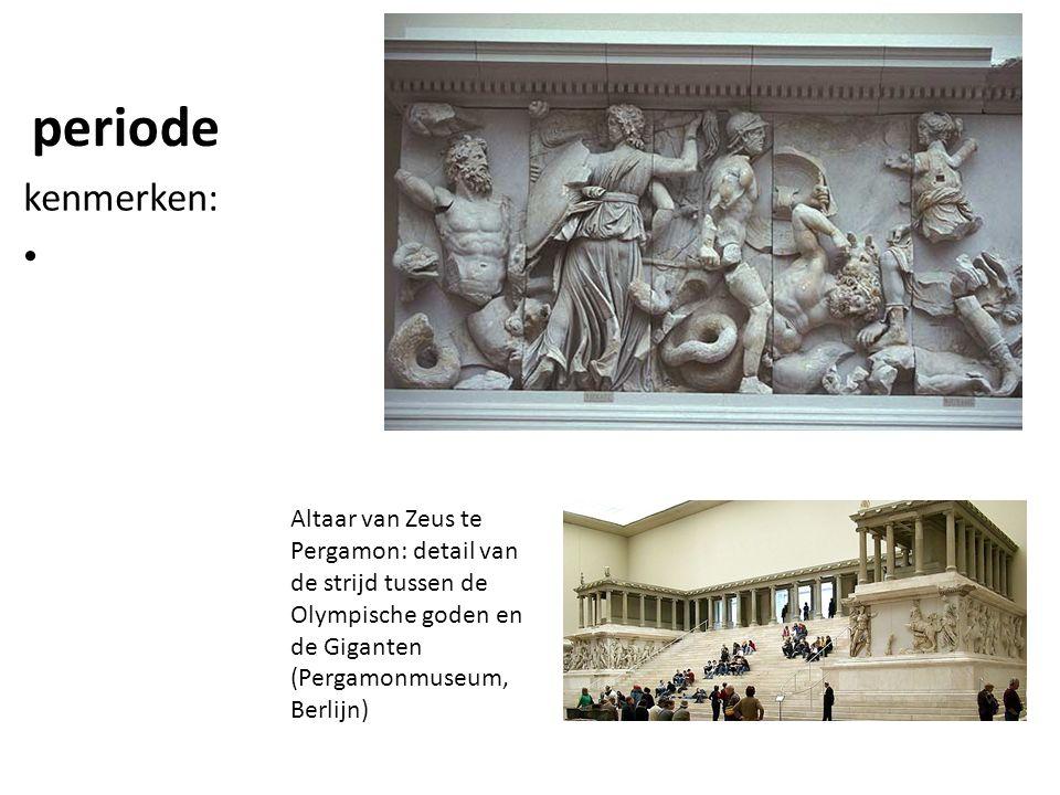 periode kenmerken: Altaar van Zeus te Pergamon: detail van de strijd tussen de Olympische goden en de Giganten (Pergamonmuseum, Berlijn)