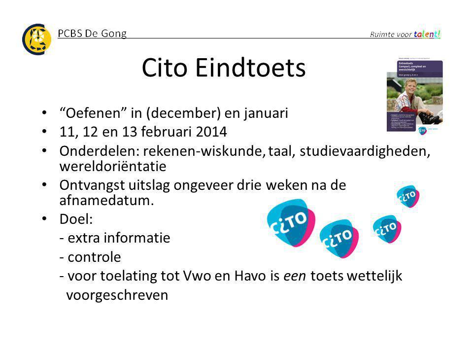 Cito Eindtoets Oefenen in (december) en januari