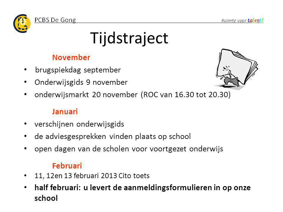 Tijdstraject November brugspiekdag september Onderwijsgids 9 november