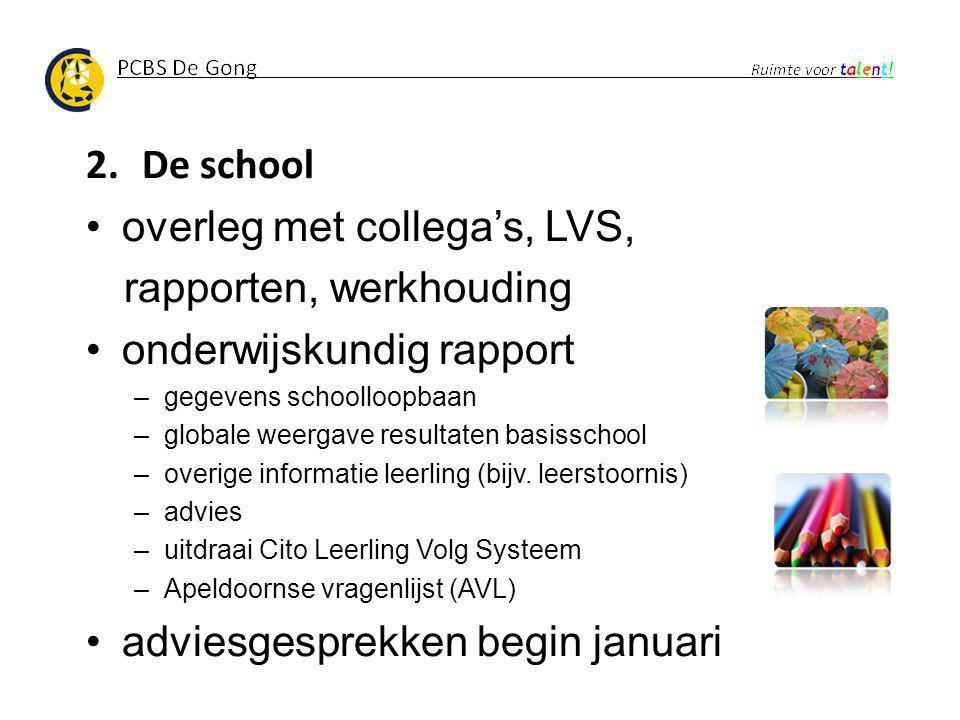 overleg met collega's, LVS, rapporten, werkhouding