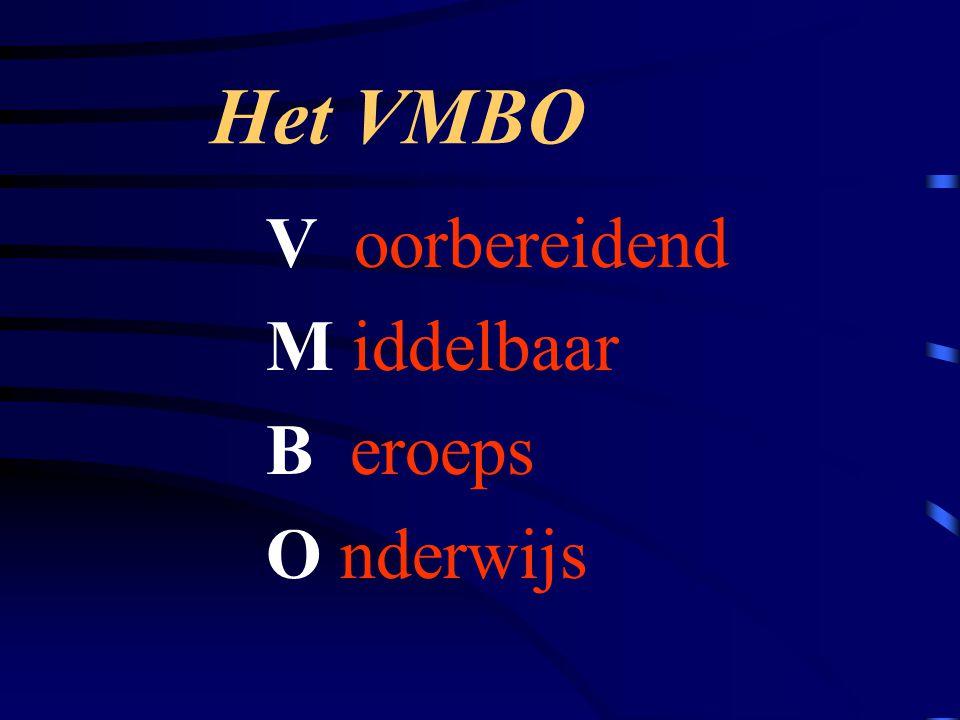 Het VMBO V oorbereidend M iddelbaar B eroeps O nderwijs