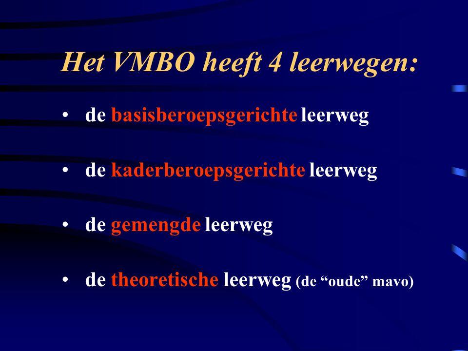 Het VMBO heeft 4 leerwegen: