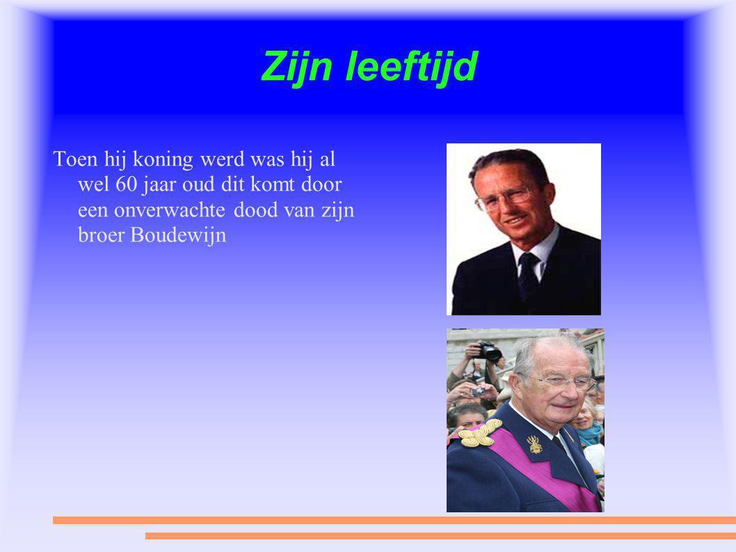Zijn leeftijd Toen hij koning werd was hij al wel 60 jaar oud dit komt door een onverwachte dood van zijn broer Boudewijn.