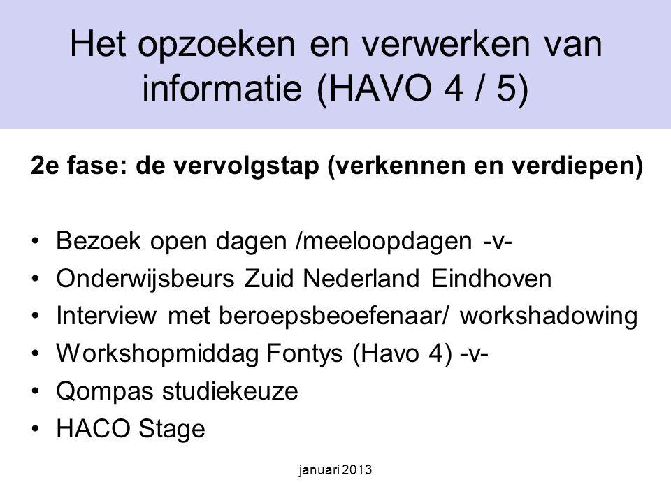 Het opzoeken en verwerken van informatie (HAVO 4 / 5)