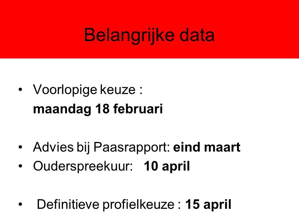 Belangrijke data Voorlopige keuze : maandag 18 februari