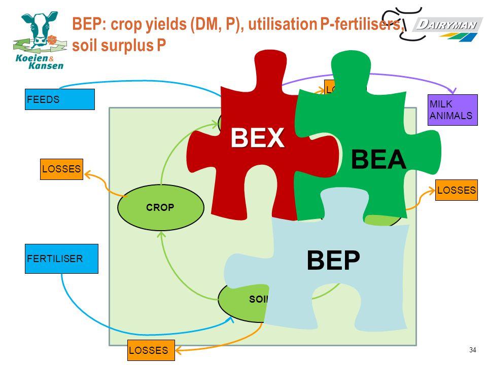 BEP: crop yields (DM, P), utilisation P-fertilisers, soil surplus P