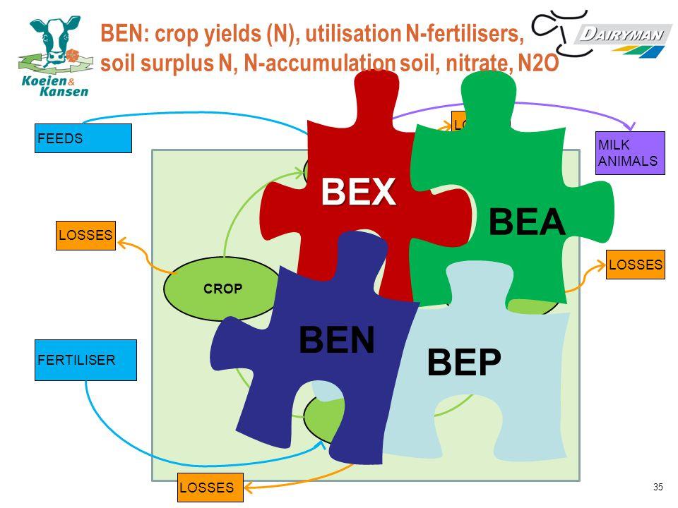 BEN: crop yields (N), utilisation N-fertilisers, soil surplus N, N-accumulation soil, nitrate, N2O