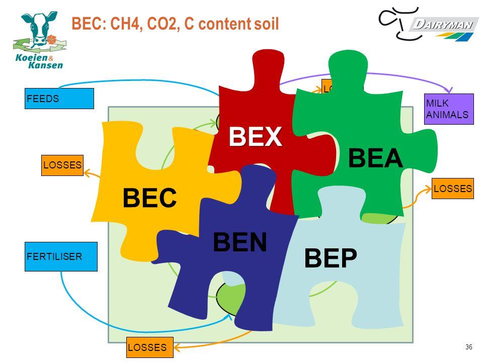 BEC: CH4, CO2, C content soil