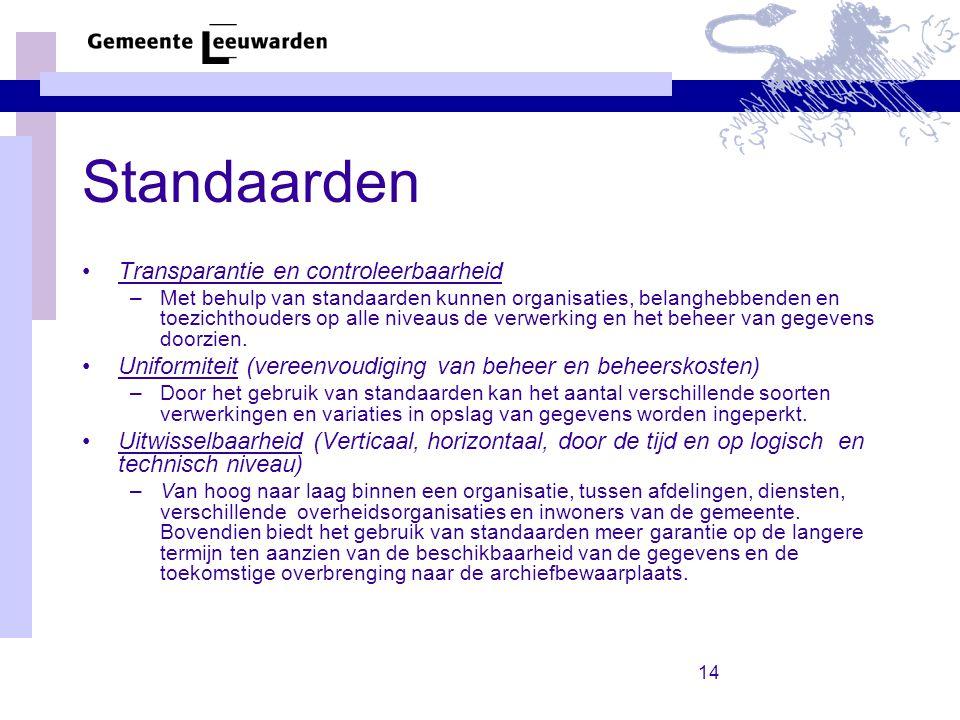 Standaarden Transparantie en controleerbaarheid