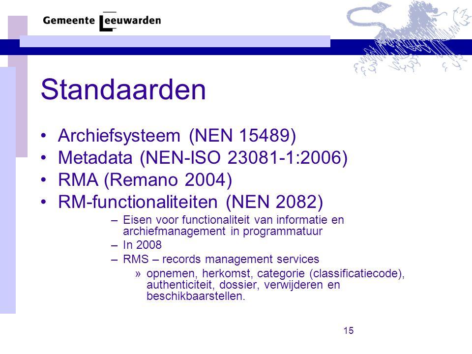 Standaarden Archiefsysteem (NEN 15489) Metadata (NEN-ISO 23081-1:2006)