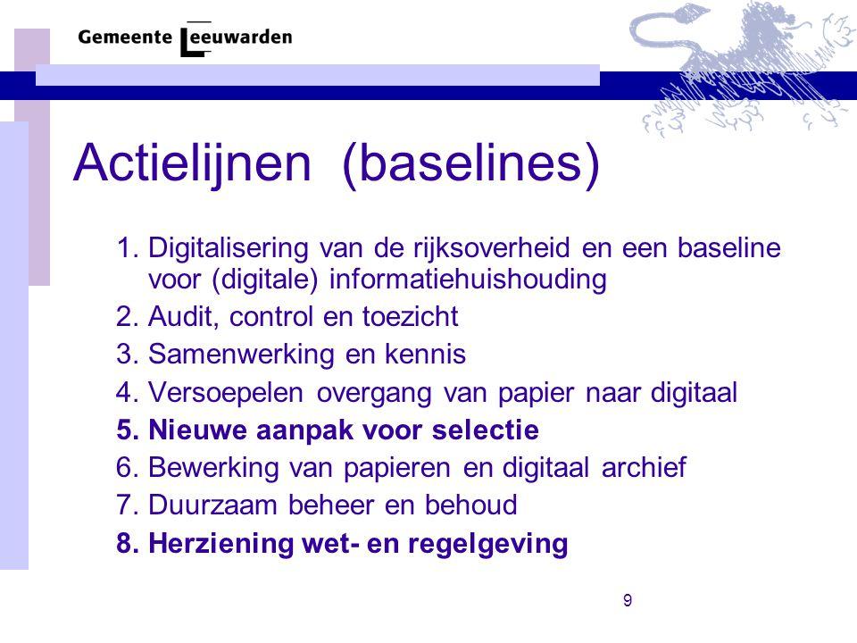 Actielijnen (baselines)