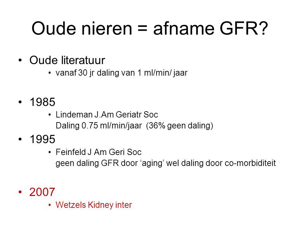 Oude nieren = afname GFR