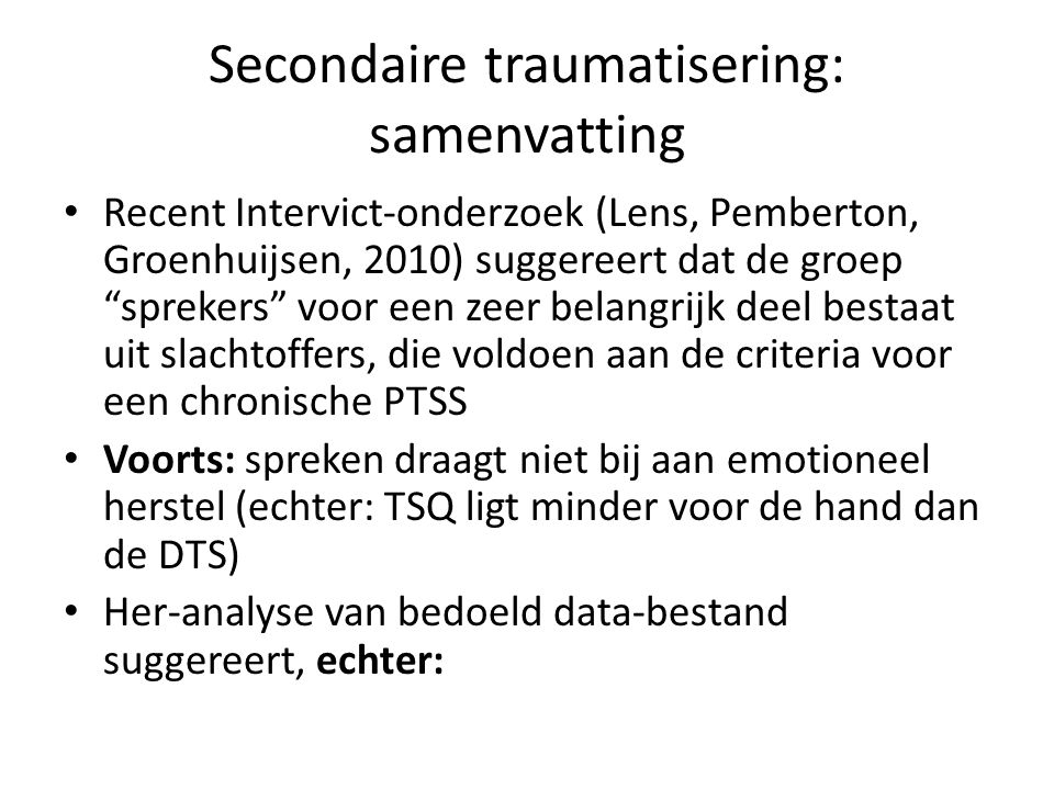 Secondaire traumatisering: samenvatting