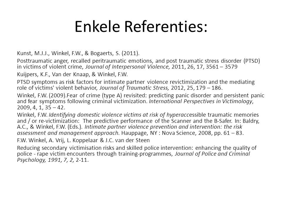 Enkele Referenties: