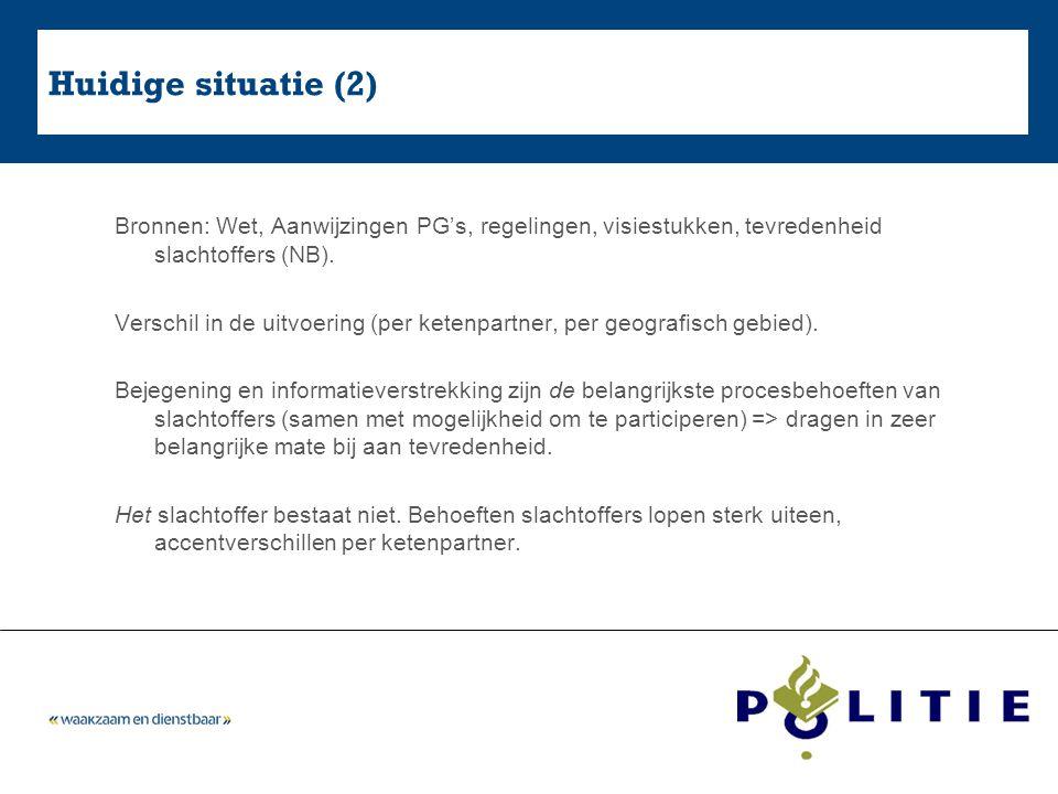 5-4-2017 Huidige situatie (2) Bronnen: Wet, Aanwijzingen PG's, regelingen, visiestukken, tevredenheid slachtoffers (NB).
