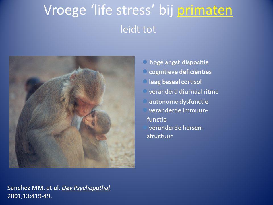 Vroege 'life stress' bij primaten leidt tot