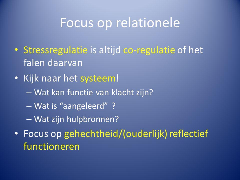 Focus op relationele Stressregulatie is altijd co-regulatie of het falen daarvan. Kijk naar het systeem!