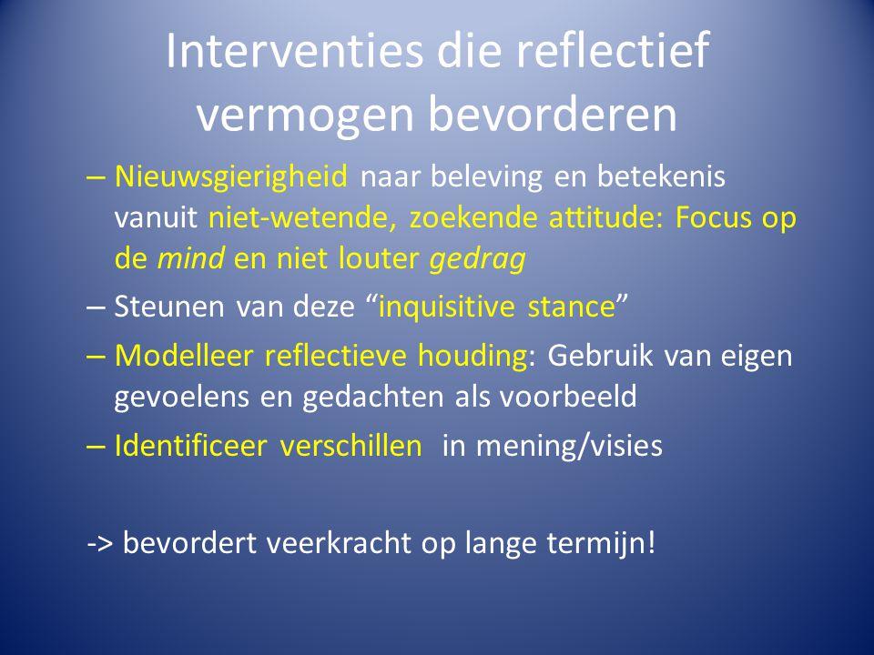 Interventies die reflectief vermogen bevorderen