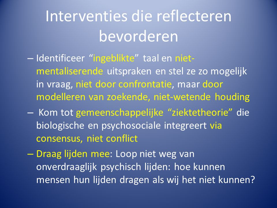Interventies die reflecteren bevorderen