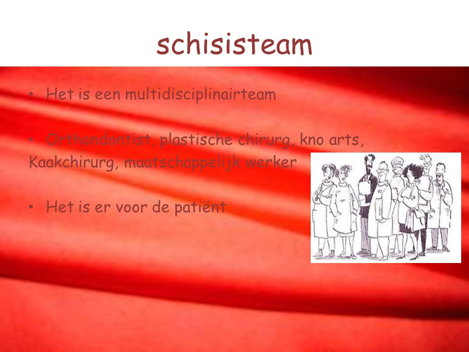 schisisteam Het is een multidisciplinairteam