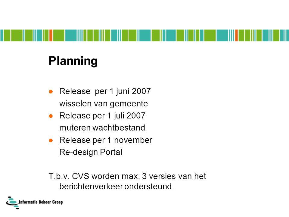 Planning Release per 1 juni 2007 wisselen van gemeente