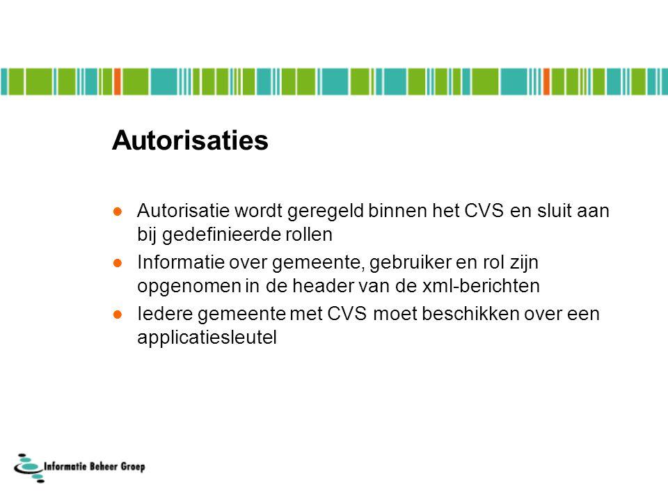 Autorisaties Autorisatie wordt geregeld binnen het CVS en sluit aan bij gedefinieerde rollen.