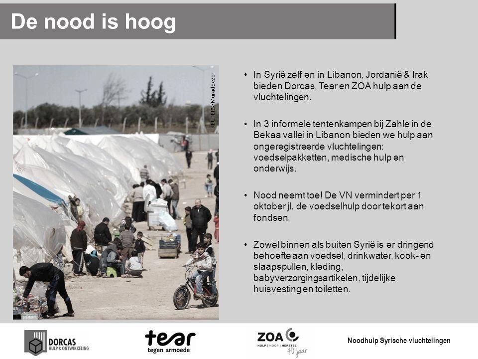 De nood is hoog In Syrië zelf en in Libanon, Jordanië & Irak bieden Dorcas, Tear en ZOA hulp aan de vluchtelingen.