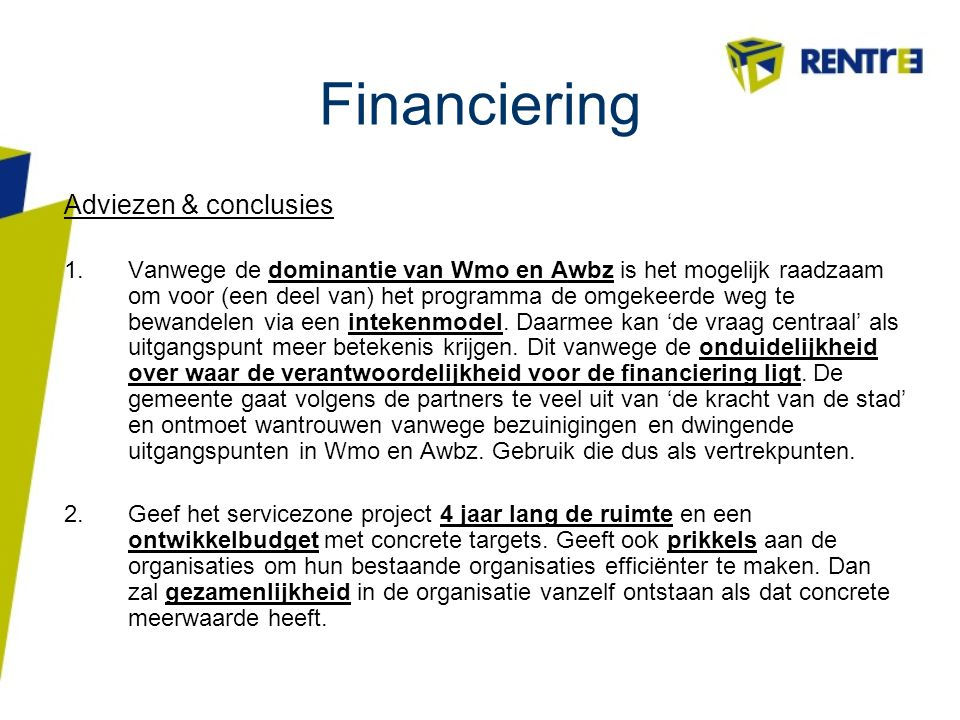 Financiering Adviezen & conclusies