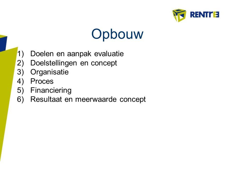 Opbouw Doelen en aanpak evaluatie Doelstellingen en concept