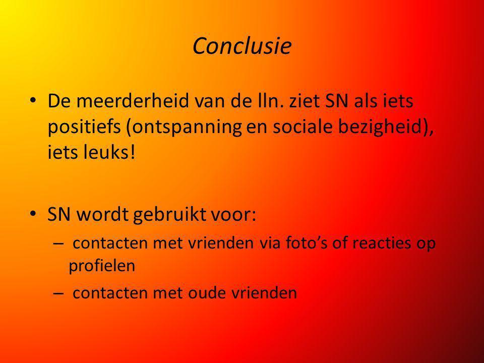 Conclusie De meerderheid van de lln. ziet SN als iets positiefs (ontspanning en sociale bezigheid), iets leuks!