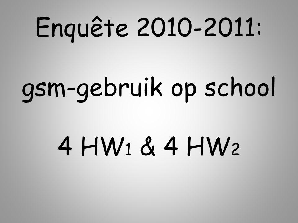 Enquête 2010-2011: gsm-gebruik op school 4 HW1 & 4 HW2