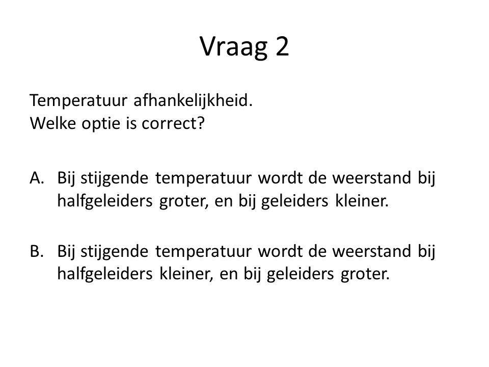 Vraag 2 Temperatuur afhankelijkheid. Welke optie is correct