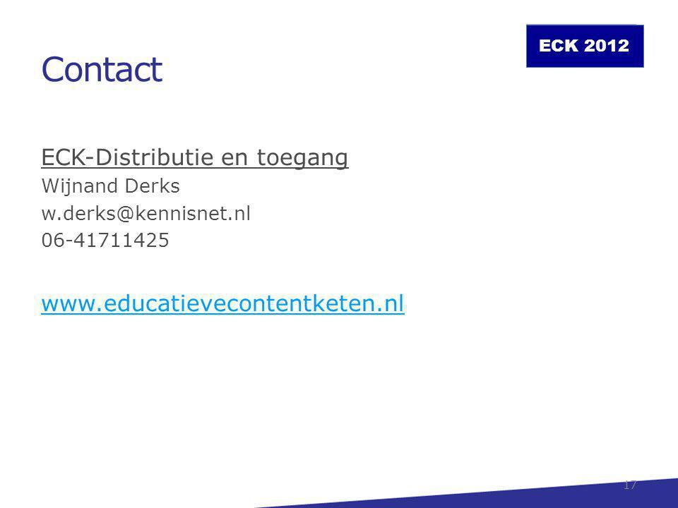 Contact ECK-Distributie en toegang www.educatievecontentketen.nl