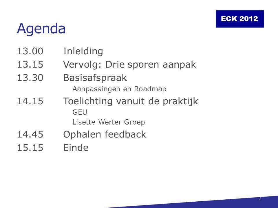 Agenda 13.00 Inleiding 13.15 Vervolg: Drie sporen aanpak