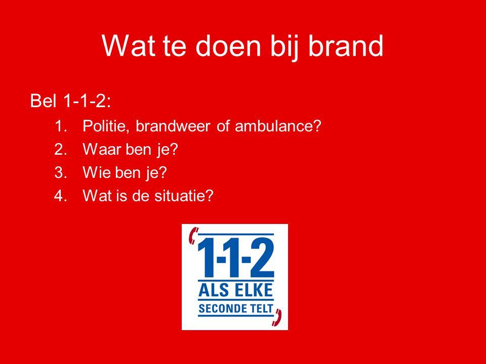 Wat te doen bij brand Bel 1-1-2: Politie, brandweer of ambulance