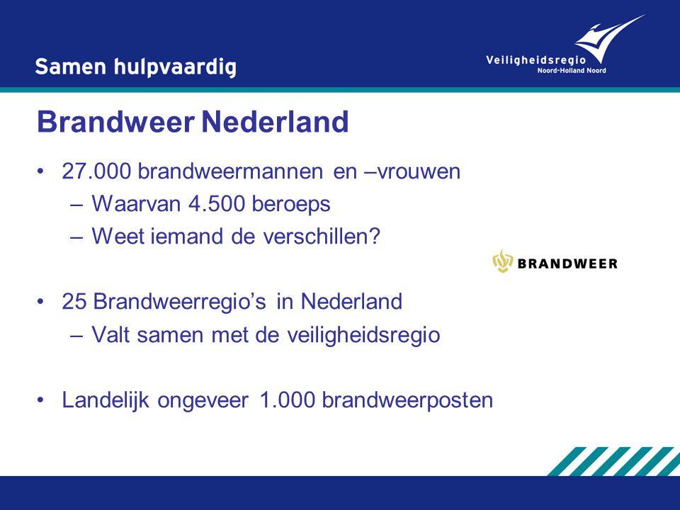 Brandweer Nederland 27.000 brandweermannen en –vrouwen