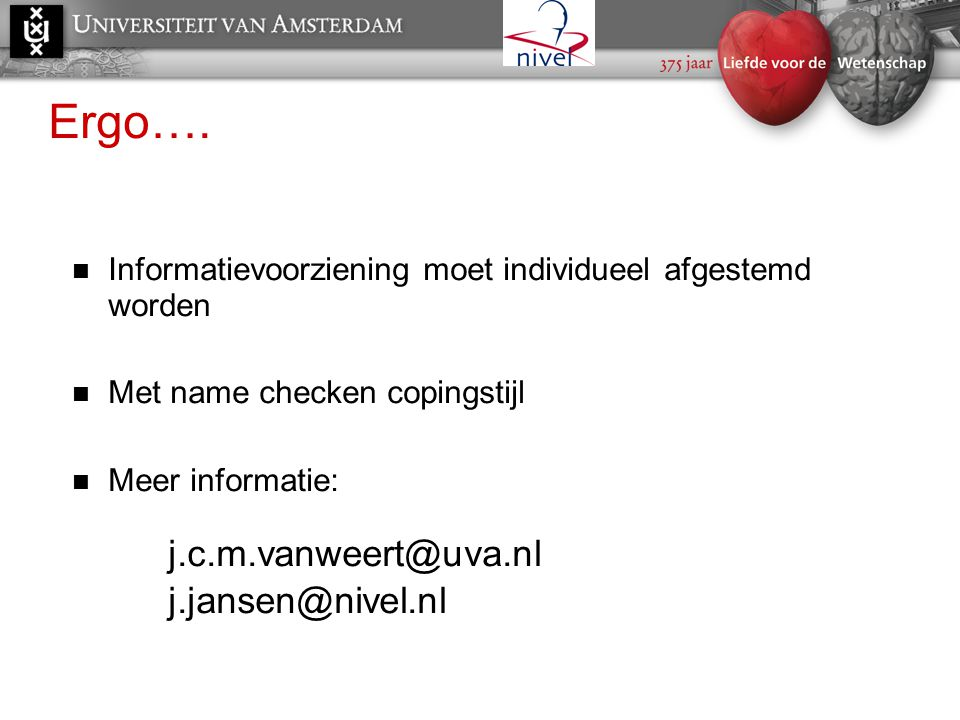 Ergo…. j.c.m.vanweert@uva.nl j.jansen@nivel.nl
