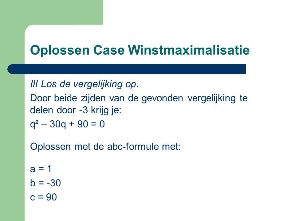Oplossen Case Winstmaximalisatie