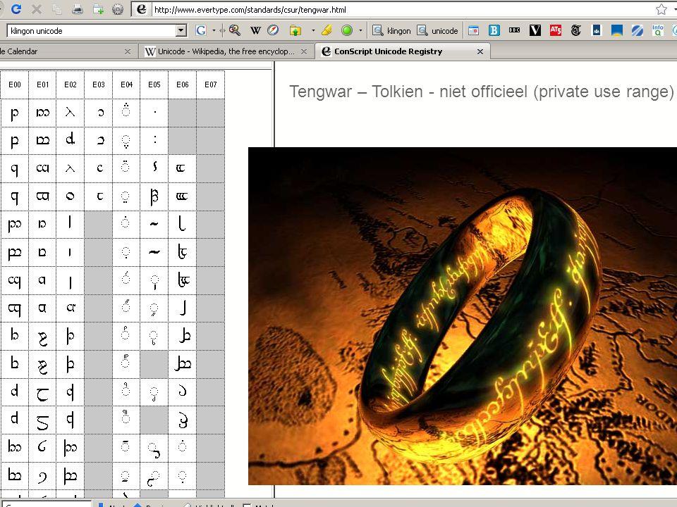 Tengwar – Tolkien - niet officieel (private use range)