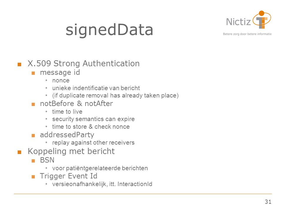 signedData X.509 Strong Authentication Koppeling met bericht