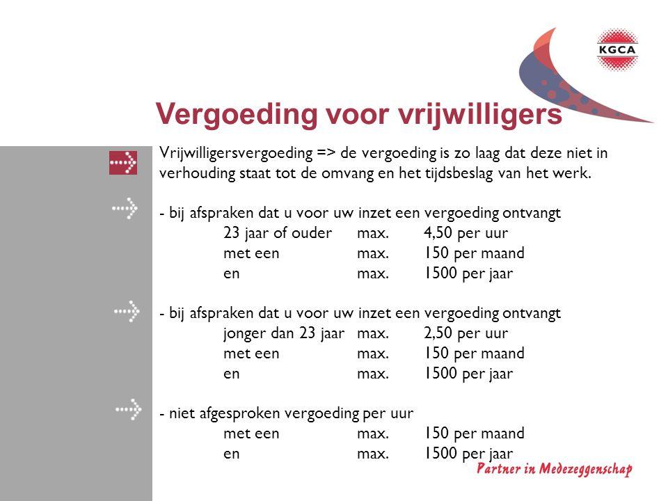 Vergoeding voor vrijwilligers
