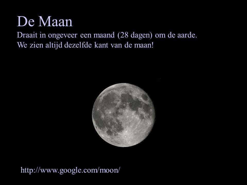 De Maan Draait in ongeveer een maand (28 dagen) om de aarde.