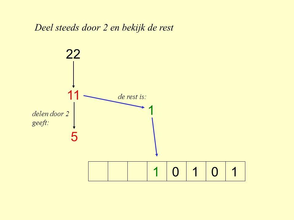 22 11 1 5 1 Deel steeds door 2 en bekijk de rest de rest is: