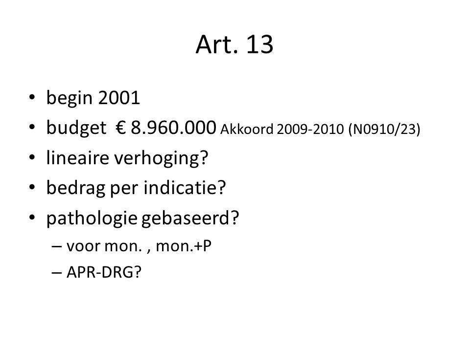 Art. 13 begin 2001 budget € 8.960.000 Akkoord 2009-2010 (N0910/23)