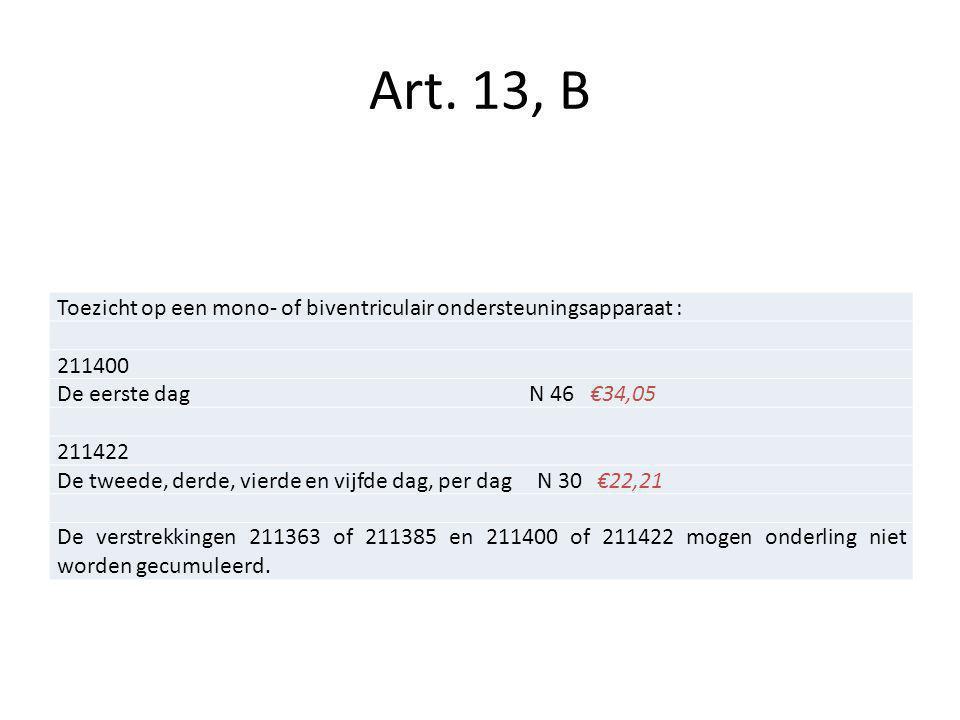 Art. 13, B Toezicht op een mono- of biventriculair ondersteuningsapparaat : 211400.