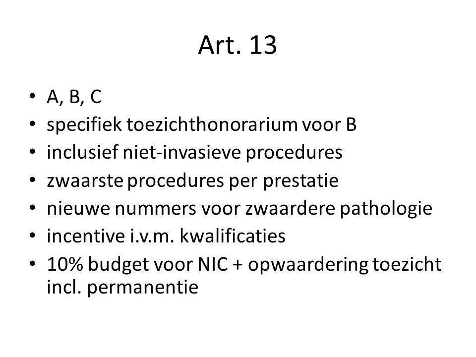 Art. 13 A, B, C specifiek toezichthonorarium voor B