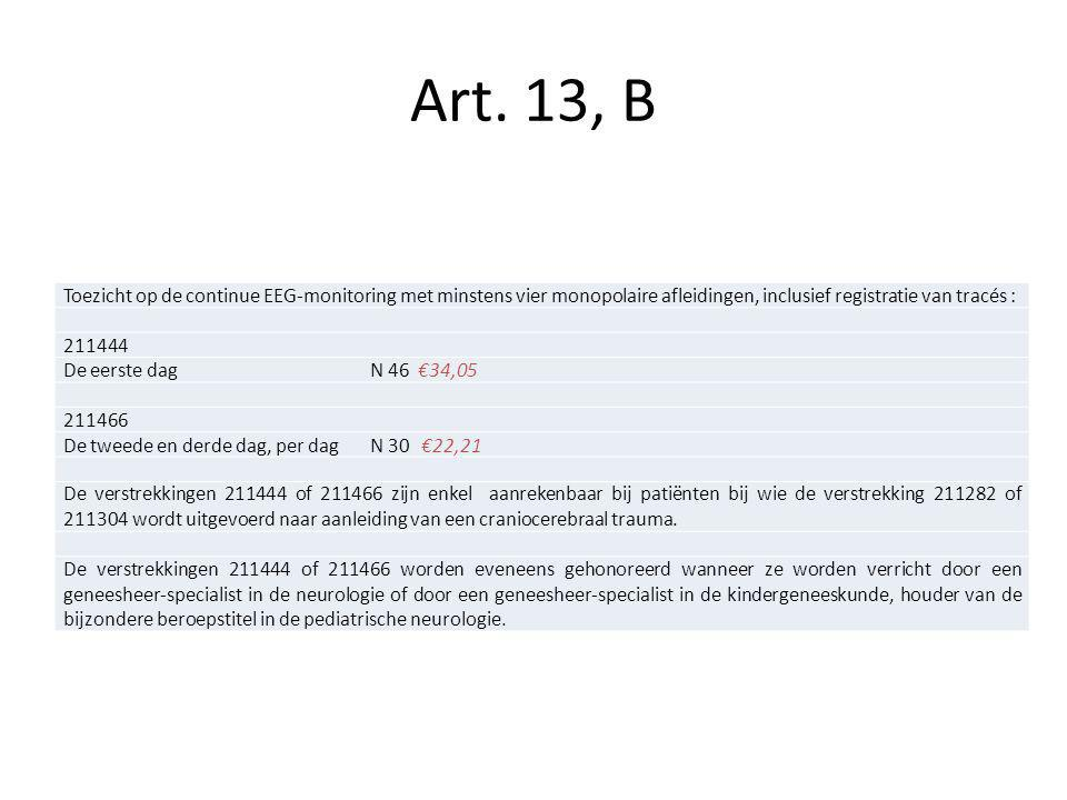 Art. 13, B Toezicht op de continue EEG-monitoring met minstens vier monopolaire afleidingen, inclusief registratie van tracés :
