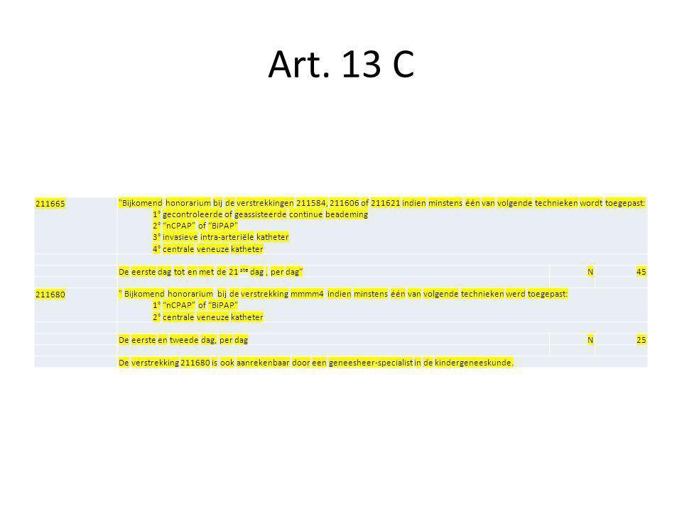 Art. 13 C 211665. Bijkomend honorarium bij de verstrekkingen 211584, 211606 of 211621 indien minstens één van volgende technieken wordt toegepast: