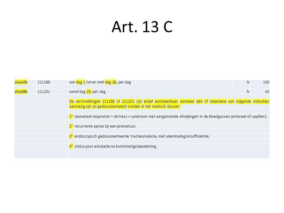 Art. 13 C 211175 211186 van dag 1 tot en met dag 28, per dag N 100